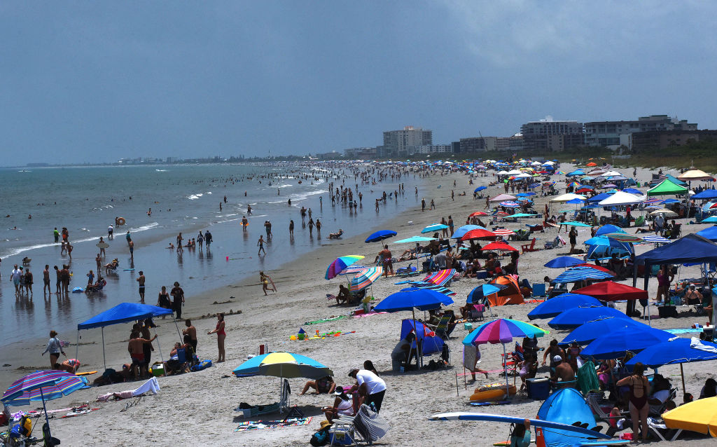 People celebrate Independence Day by visiting the beach on July 4, 2020 in Cocoa Beach, Fla.