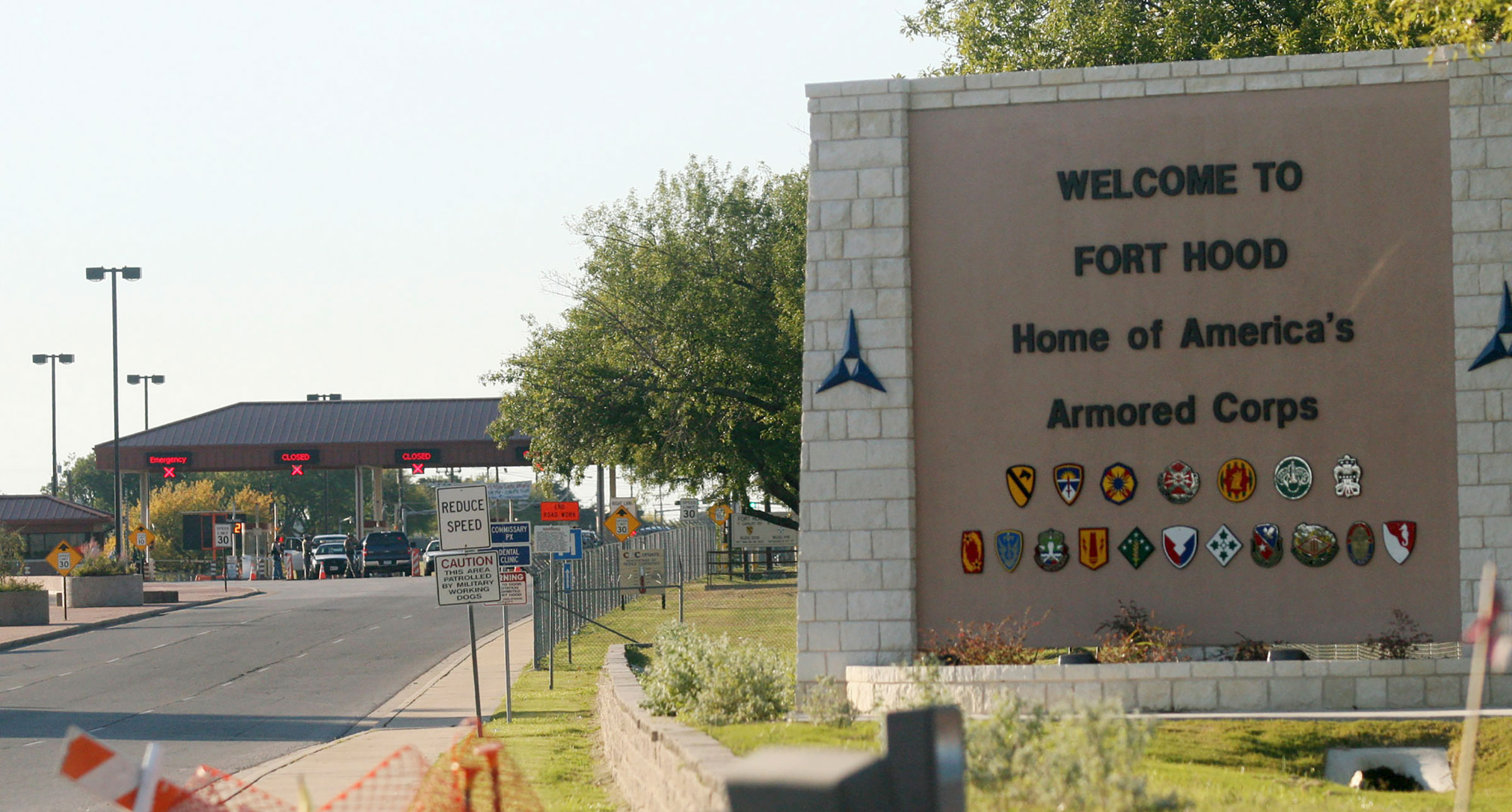 The entrance to Fort Hood Army Base in Fort Hood, Texas, on Nov. 5, 2009