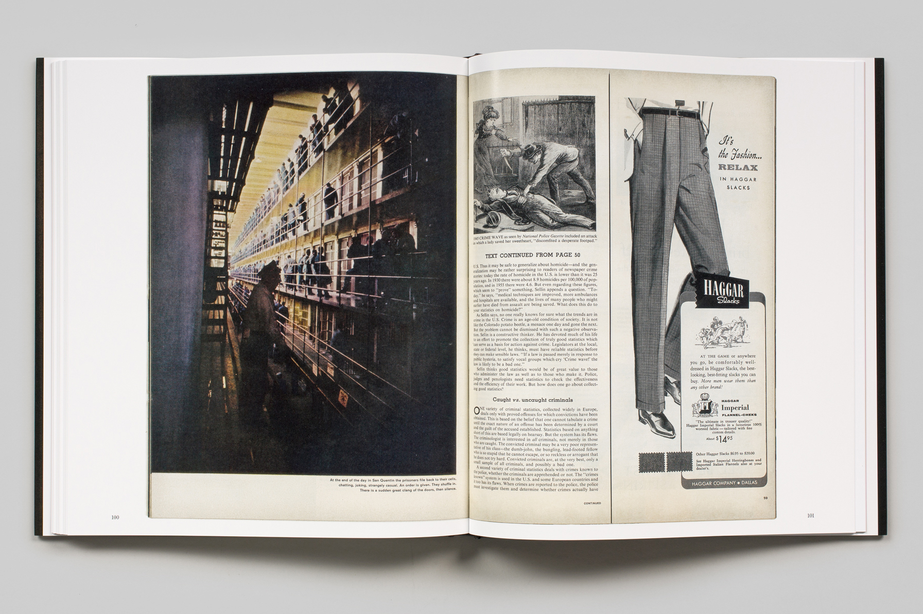 Interior of Gordon Parks: The Atmosphere of Crime showing the original layouts as it appeared in LIFE magazine.