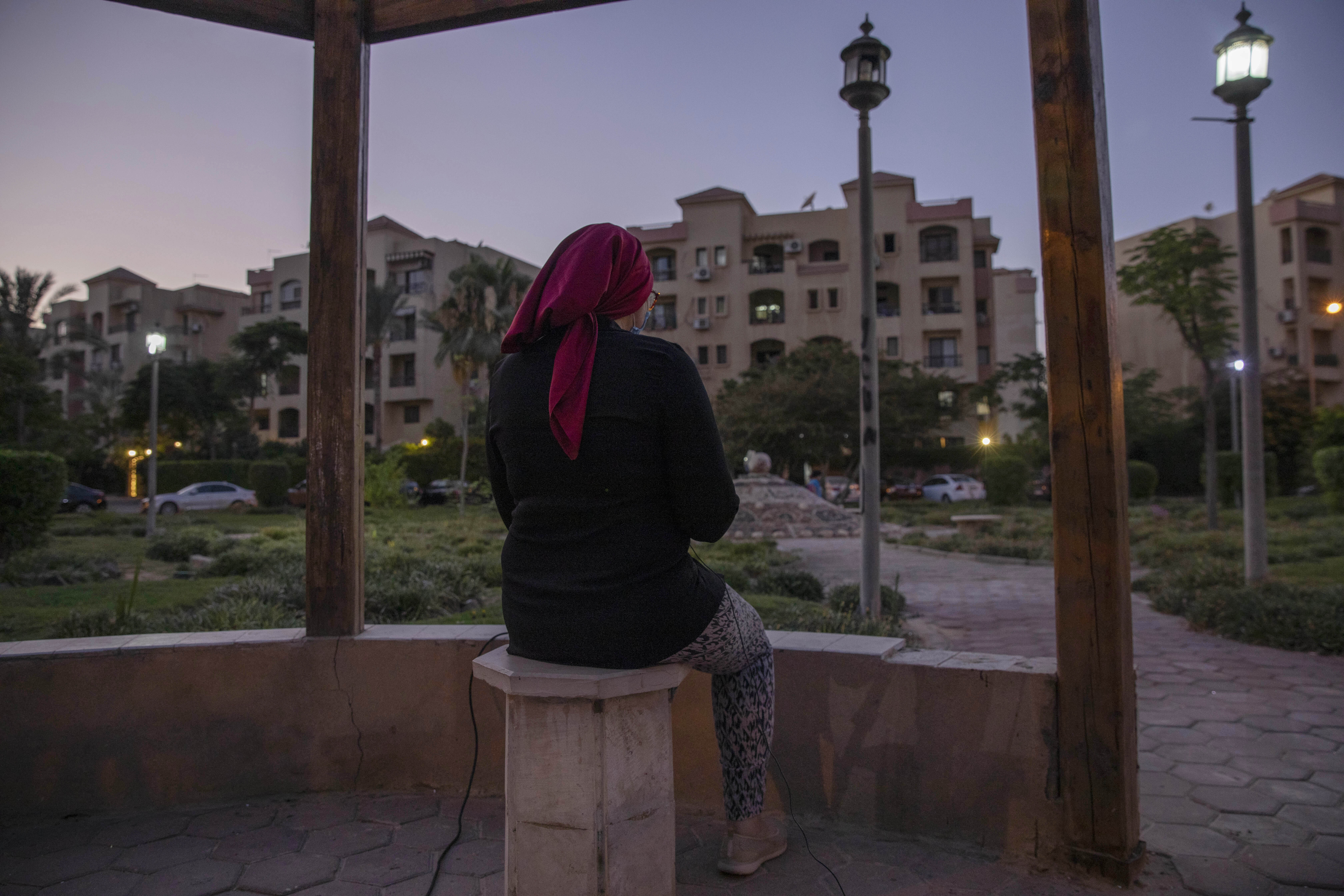 Noha, an Egyptian engineer, who was chosen to be among the U.S. government's roughly 50,000 visa lottery winners this year, speaks during an interview near her home in Cairo, Egypt, on June 30, 2020.