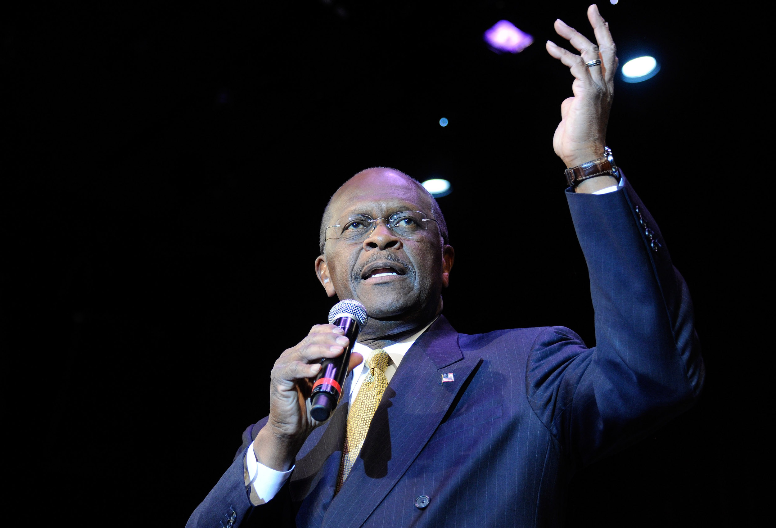 Former CEO of Godfather's Pizza and Republican presidential hopeful Herman Cain speaks at the Western Republican Leadership Conference at The Venetian October 19, 2011 in Las Vegas, Nevada.