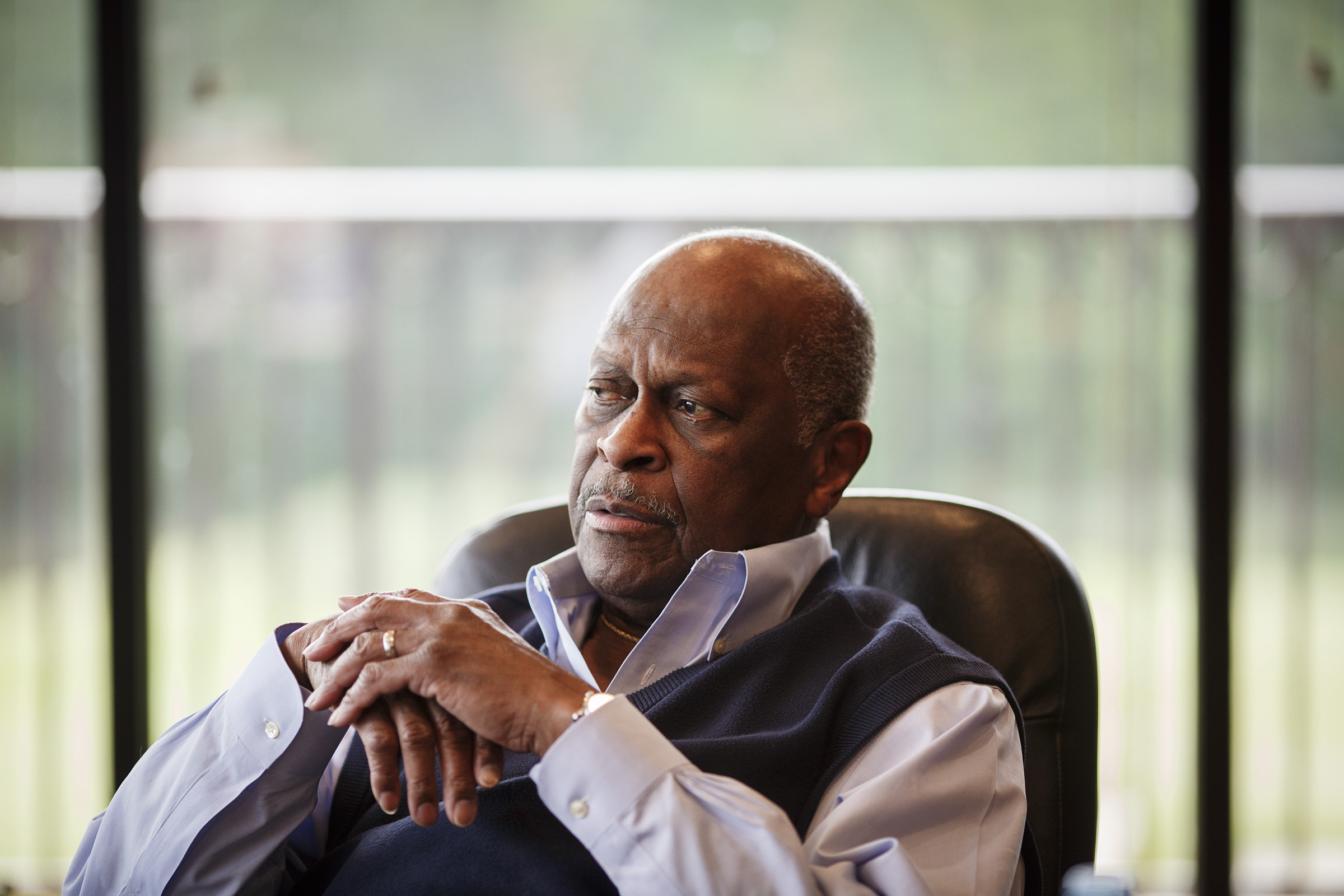 Herman Cain in his office in Stockbridge, Ga. on April 17, 2019.