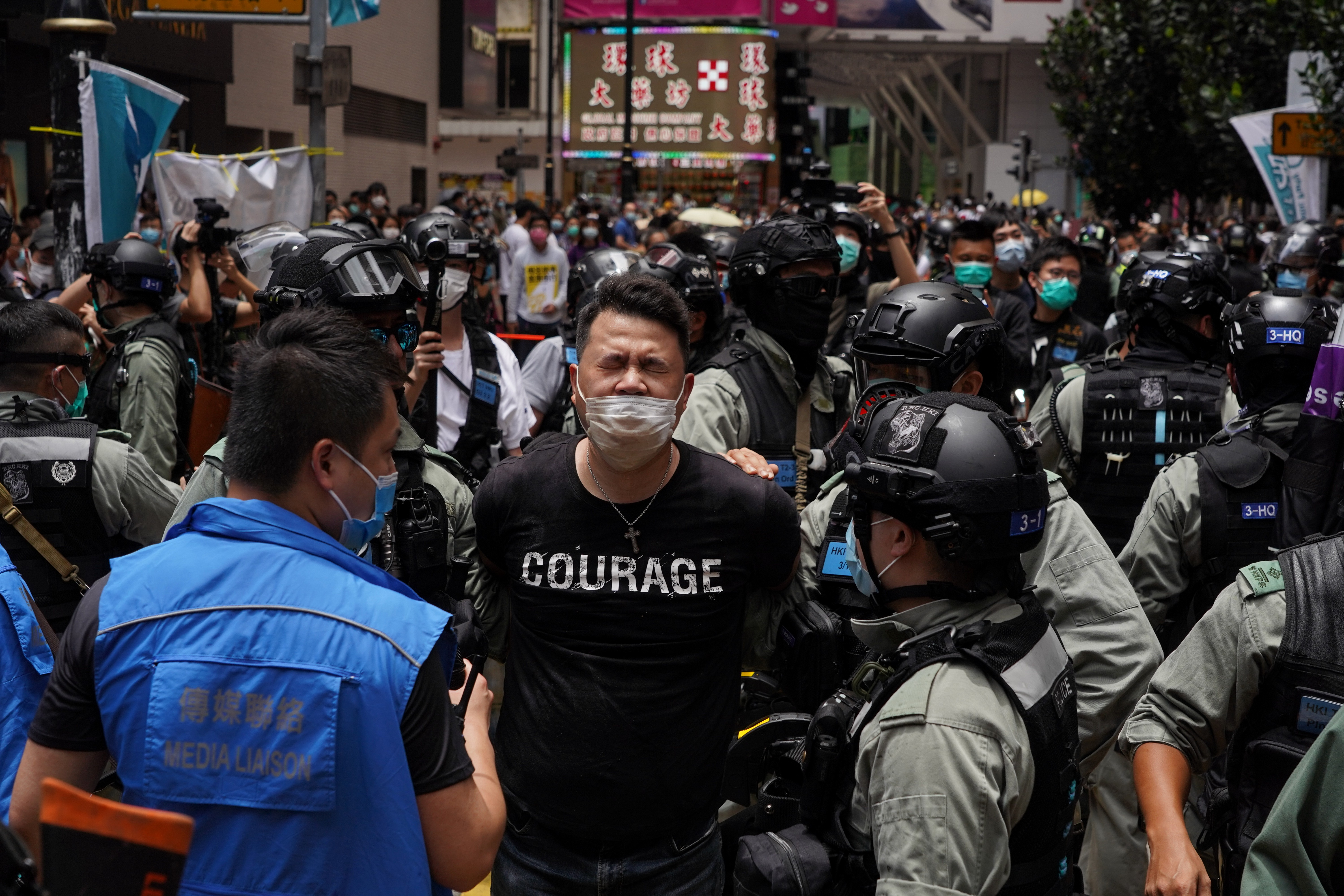 Andrew Wan, a pro-democracy lawmaker, is arrested by riot police during a protest in Hong Kong on July 1, 2020.