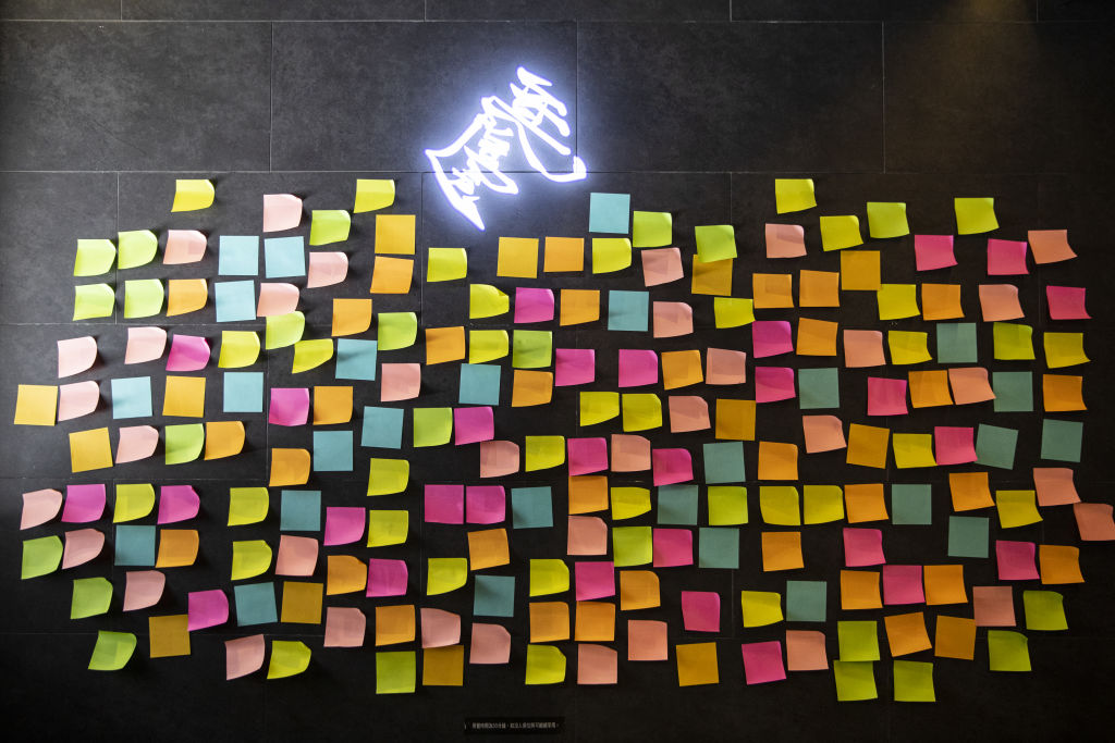 Blank sticky notes are displayed inside a restaurant in Hong Kong on July 8, 2020.