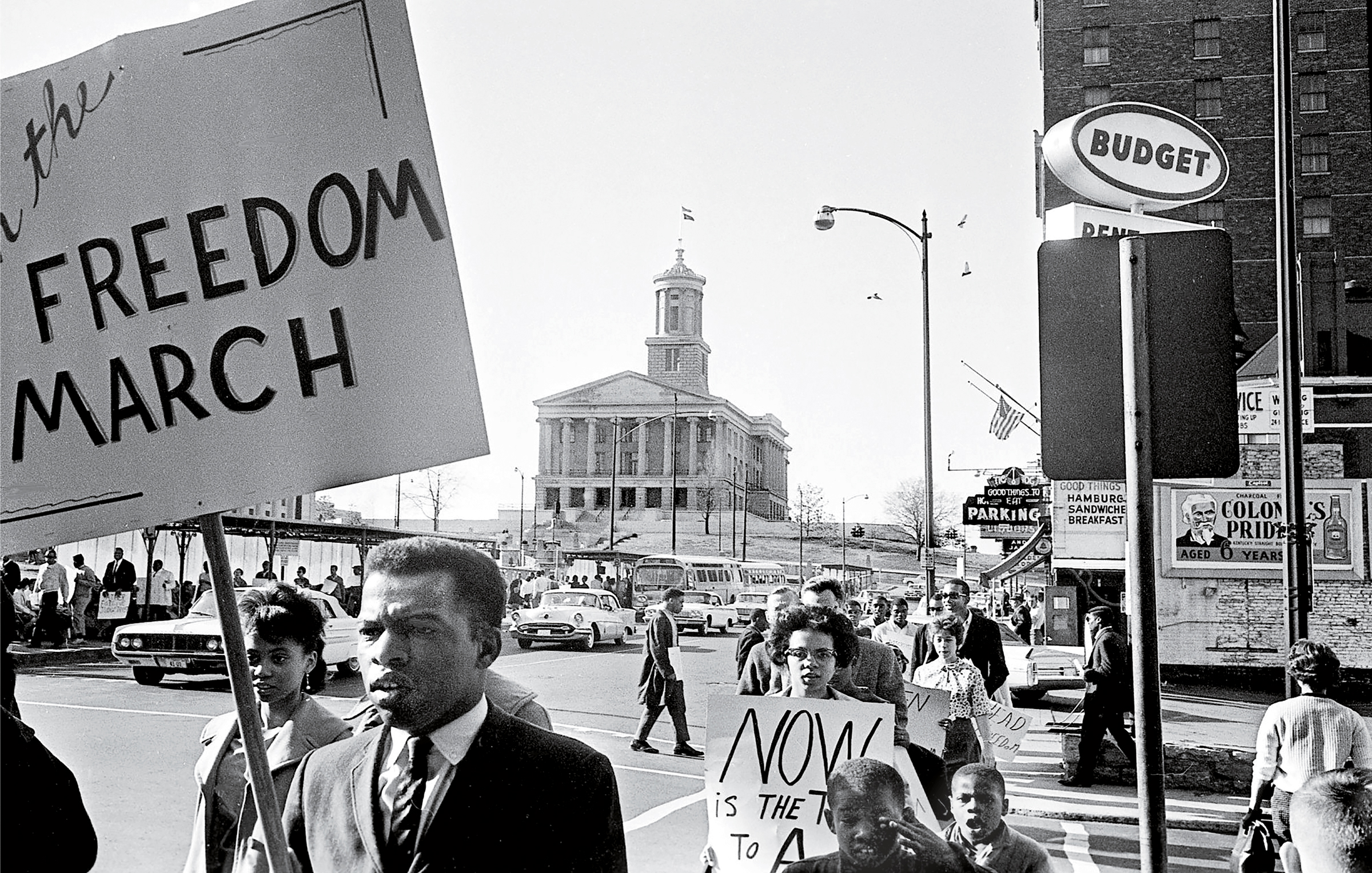 John Lewis, in the foreground holding a sign, demonstrates in downtown Nashville on March 23, 1963.