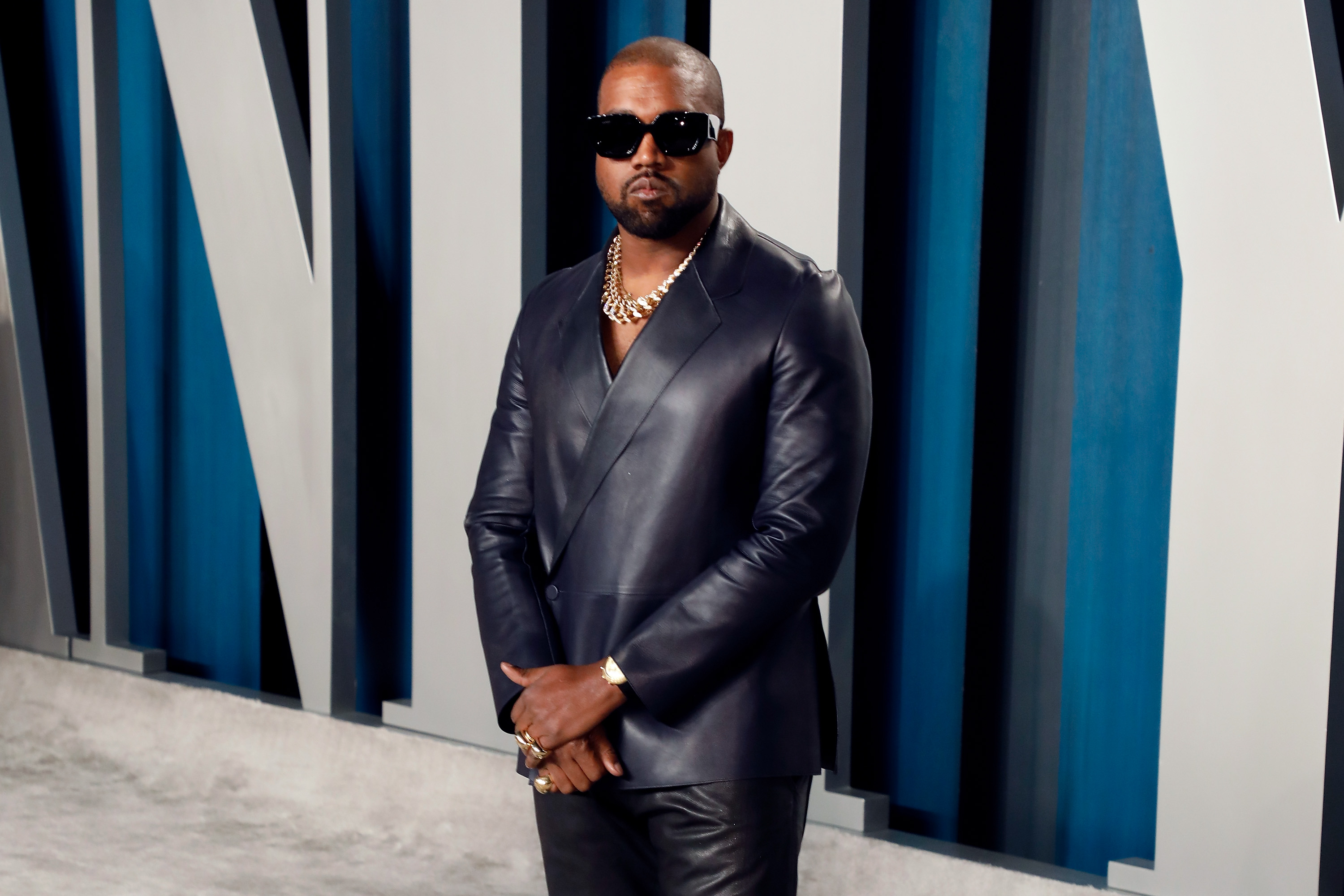 Kanye West attends the 2020 Vanity Fair Oscar Party Feb 9, 2020 in Beverly Hills, California.