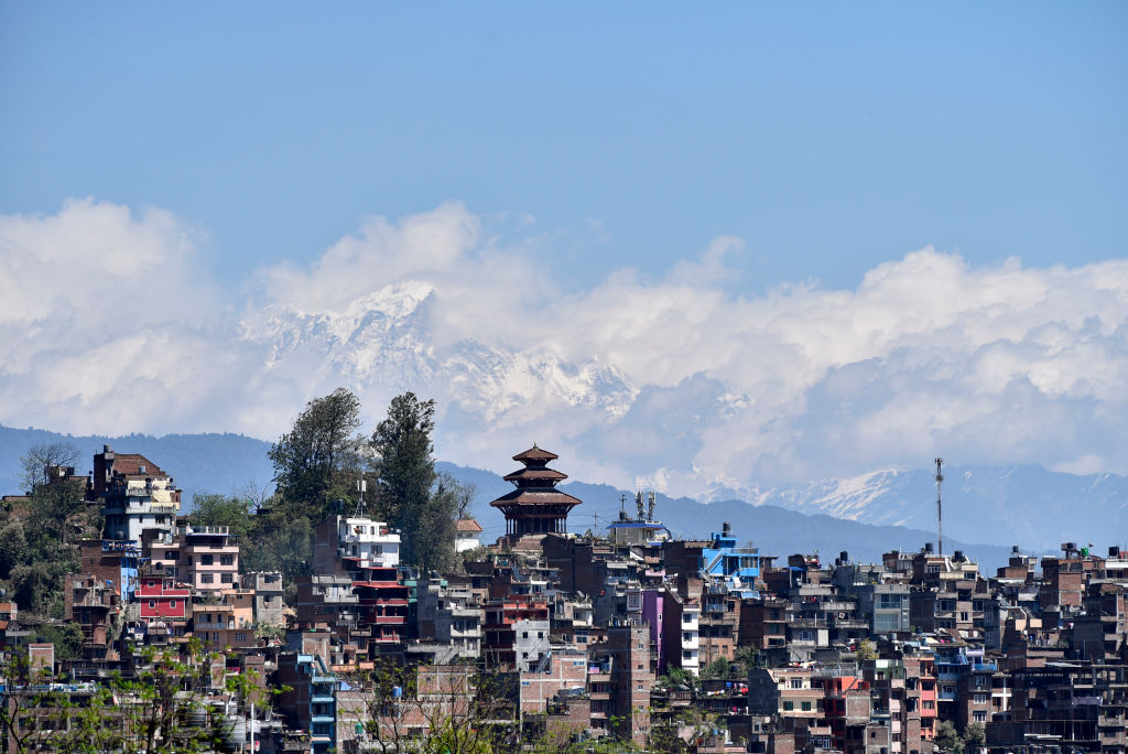 Clear skies over Kathmandu, Nepal on March 29, 2020. Usually, the Kathmandu Valley is one of the most polluted metropolitan areas in the world.