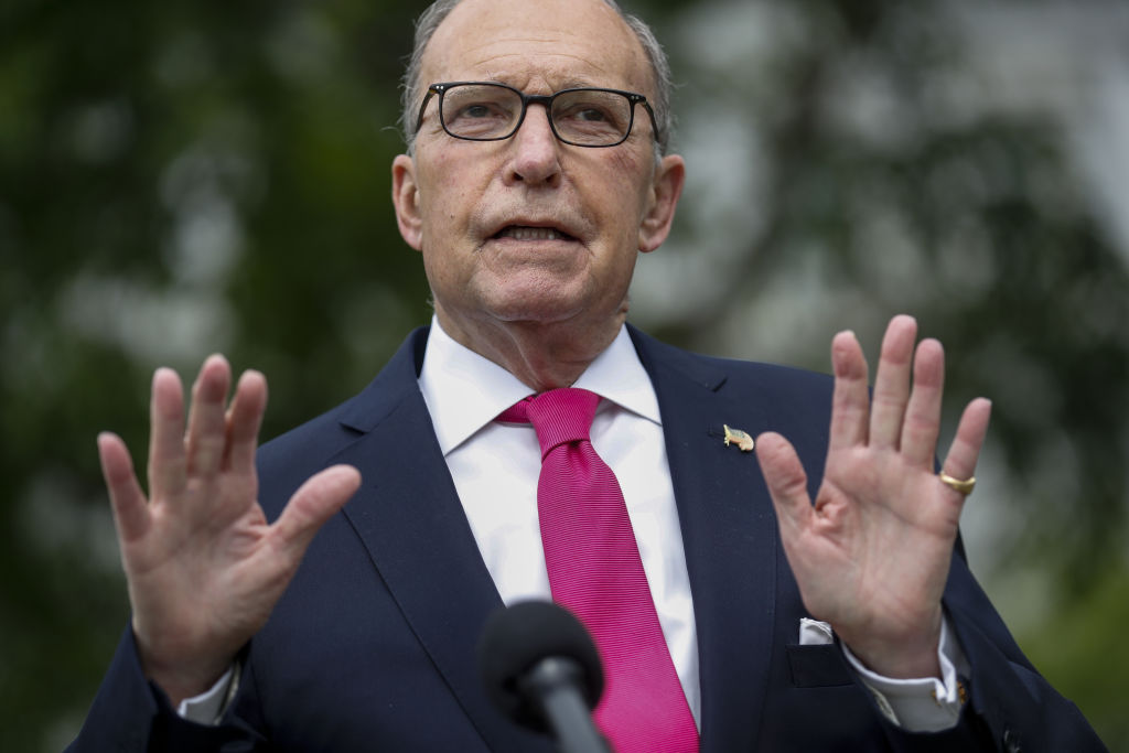 Larry Kudlow, director of the U.S. National Economic Council, speaks to members of the media in Washington, D.C., U.S., on May 8, 2020.