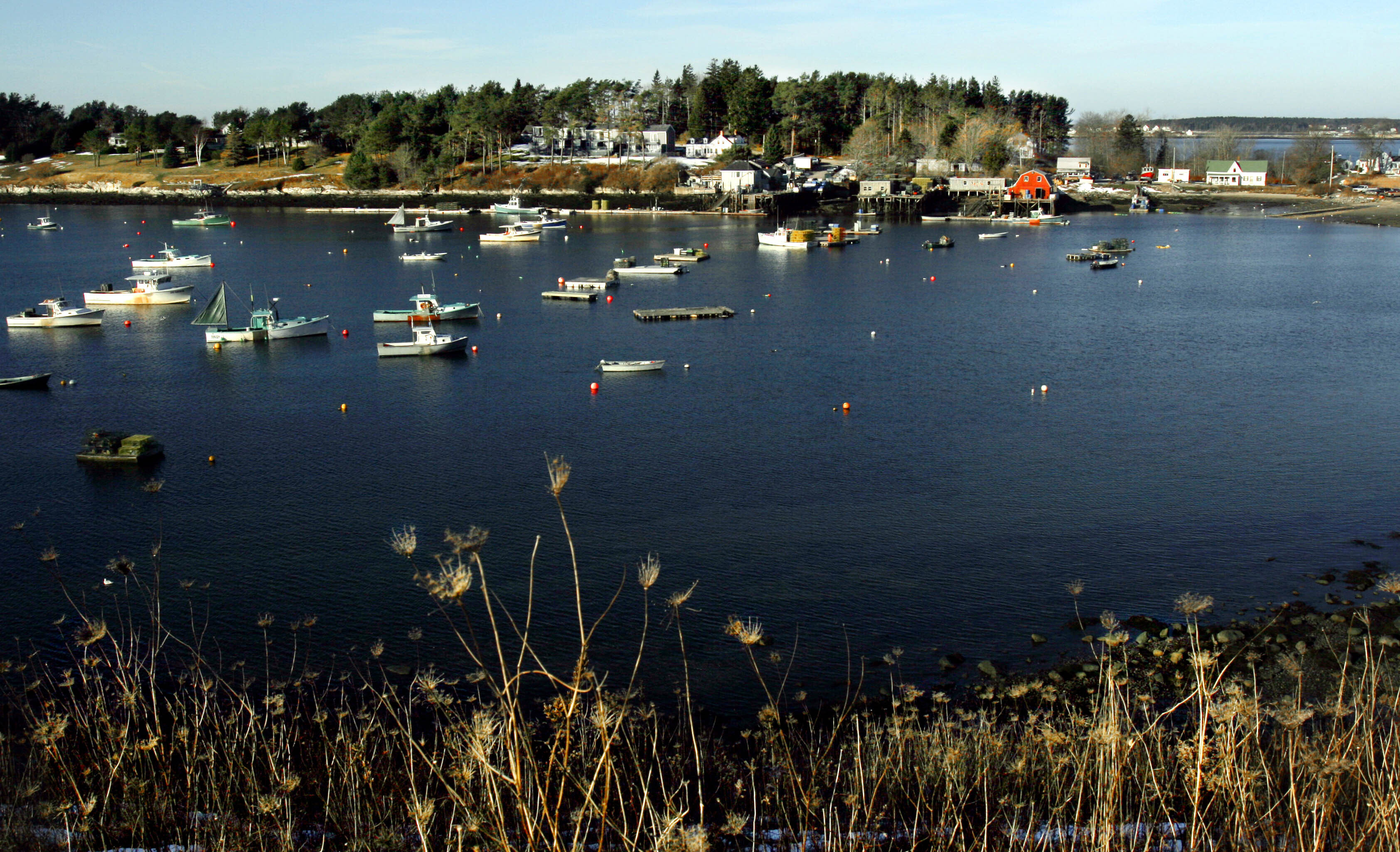 Lobster boats are tied to their moorings at Bailey Island, Maine on Dec. 21, 2005.