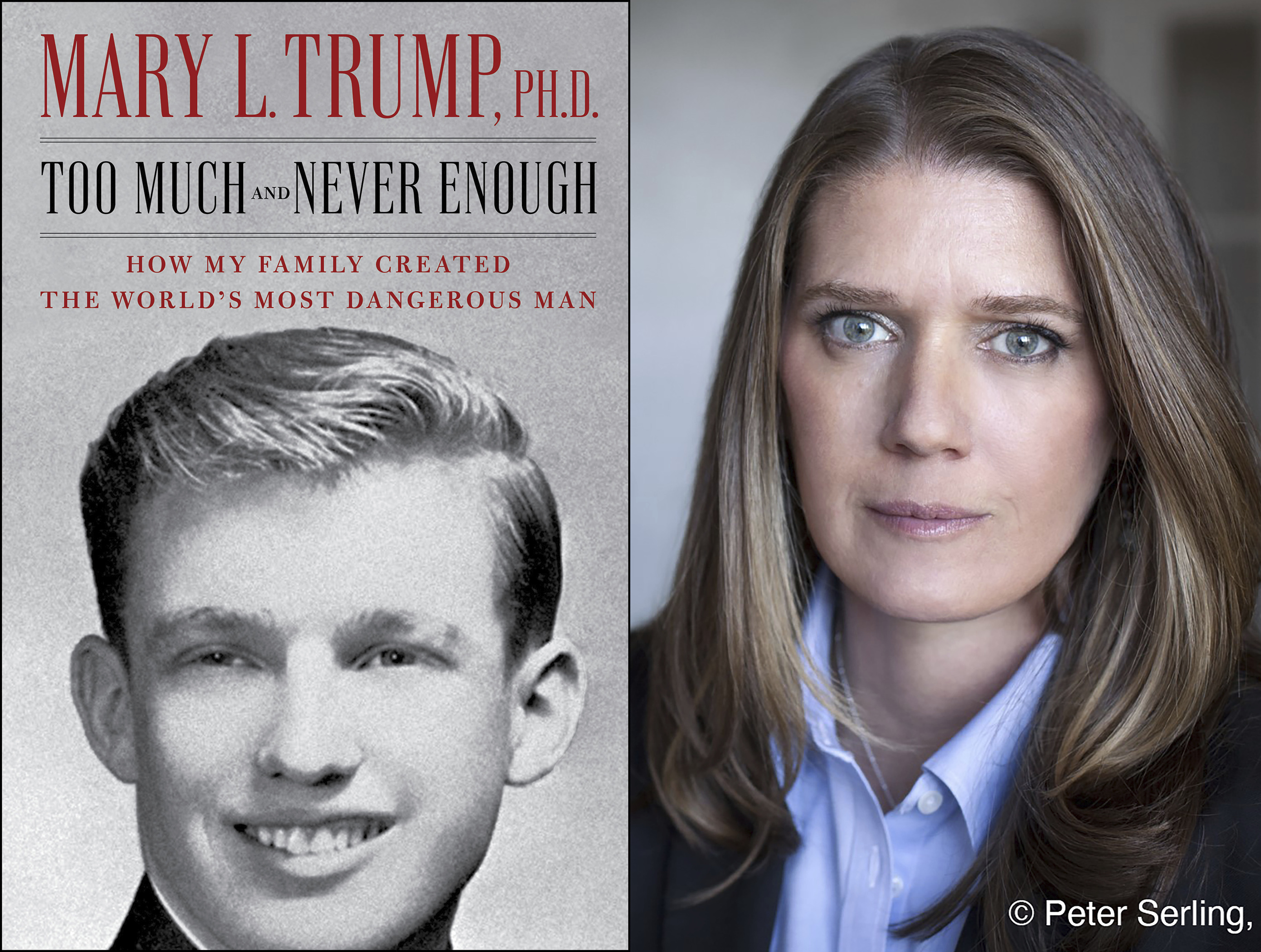 This combination photo shows the cover art for  Too Much and Never Enough: How My Family Created the World's Most Dangerous Man , left, and a portrait of author Mary L. Trump, Ph.D. The book, written by the niece of President Donald J. Trump, was originally set for release on July 28, but will now arrive on July 14.