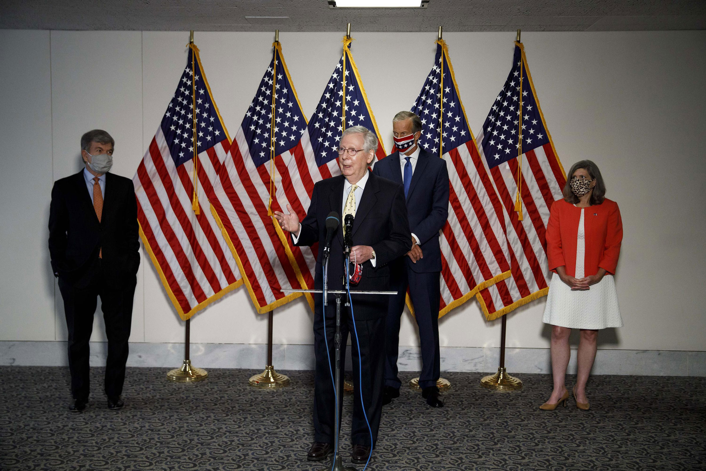 Senate Majority Leader Mitch McConnell Front speaks during a press conference on Capitol Hill in Washington, D.C., on July 21, 2020.
