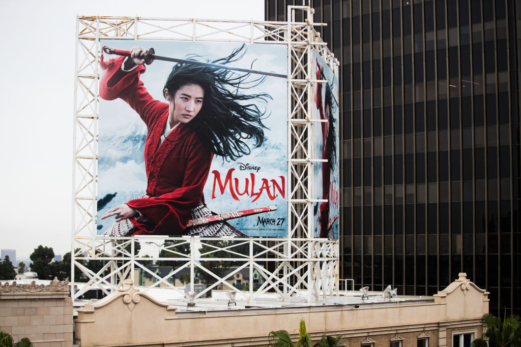 An outdoor ad for Disney's Mulan is seen on March 13, 2020 in Hollywood, Calif.