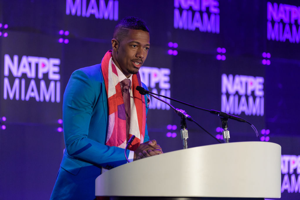 Nick Cannon speaks on stage during NATPE Miami 2020 - Iris Awards at Fontainebleau Hotel on Jan. 22, 2020 in Miami Beach, Fla.