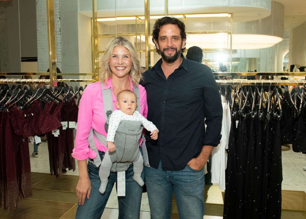 Nick Cordero, with his wife Amanda Kloots and their child, Elvis, on August 27, 2019 in New York City.