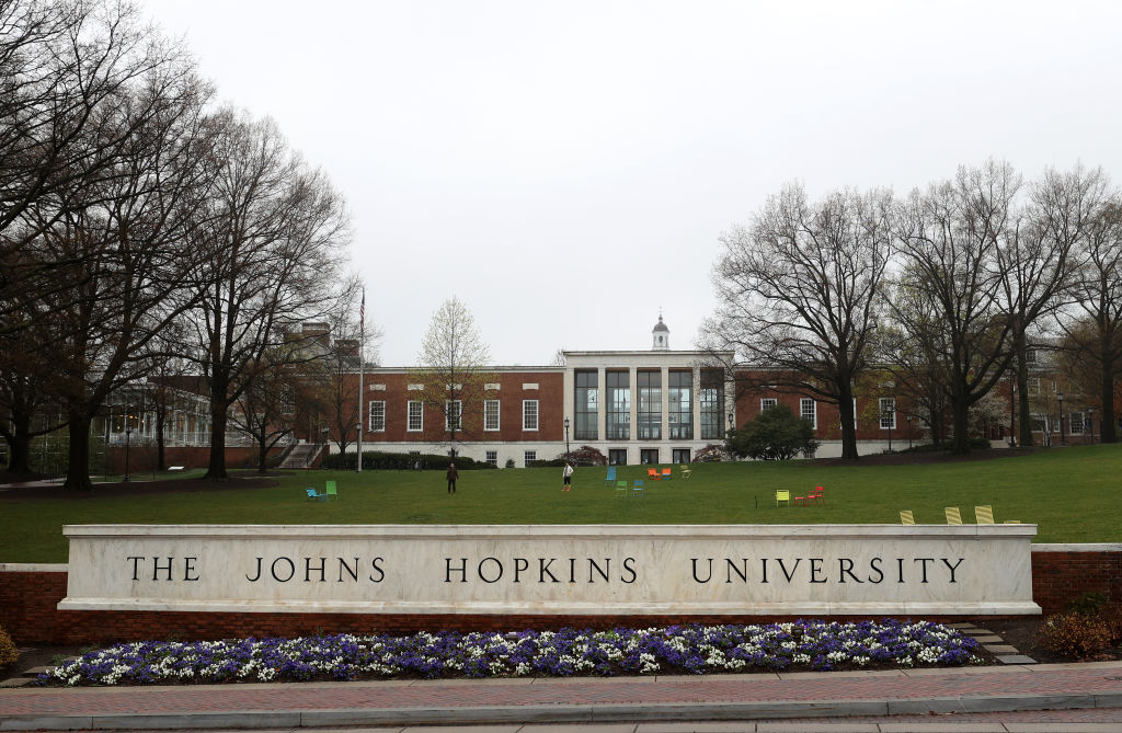 A general view of The Johns Hopkins University on March 28, 2020 in Baltimore, Maryland.