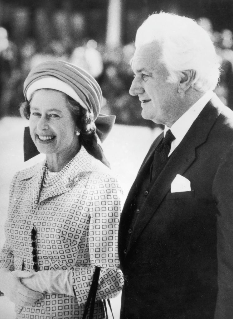 Sir John Kerr, the Governor-General of Australia, escorts Queen Elizabeth II to her aircraft at Perth Airport, following her Jubilee Tour of the country.