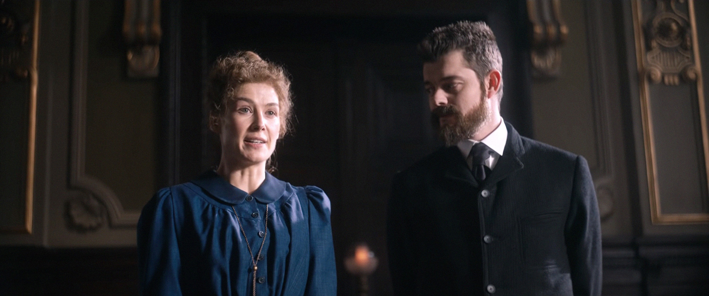Rosamund Pike as Marie Curie, and Sam Riley as Pierre Curie in 'Radioactive'.