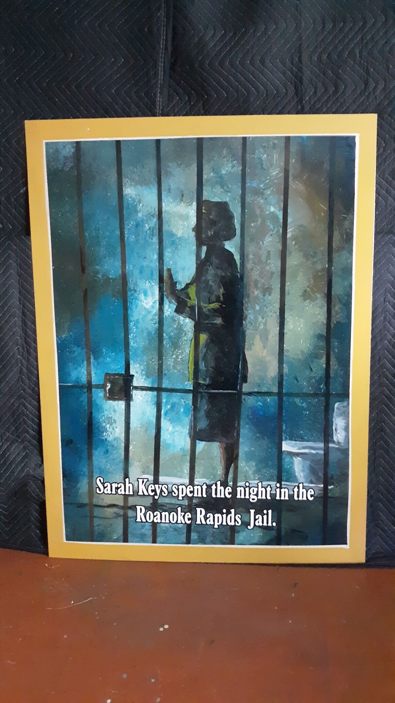 In artist Napolean Hill's studio, a panel in the new mural shows Private Keys in a Roanoke Rapids jail cell in the wee hours of Aug. 2, 1952, after refusing to give up her seat on an interstate bus to a white Marine.