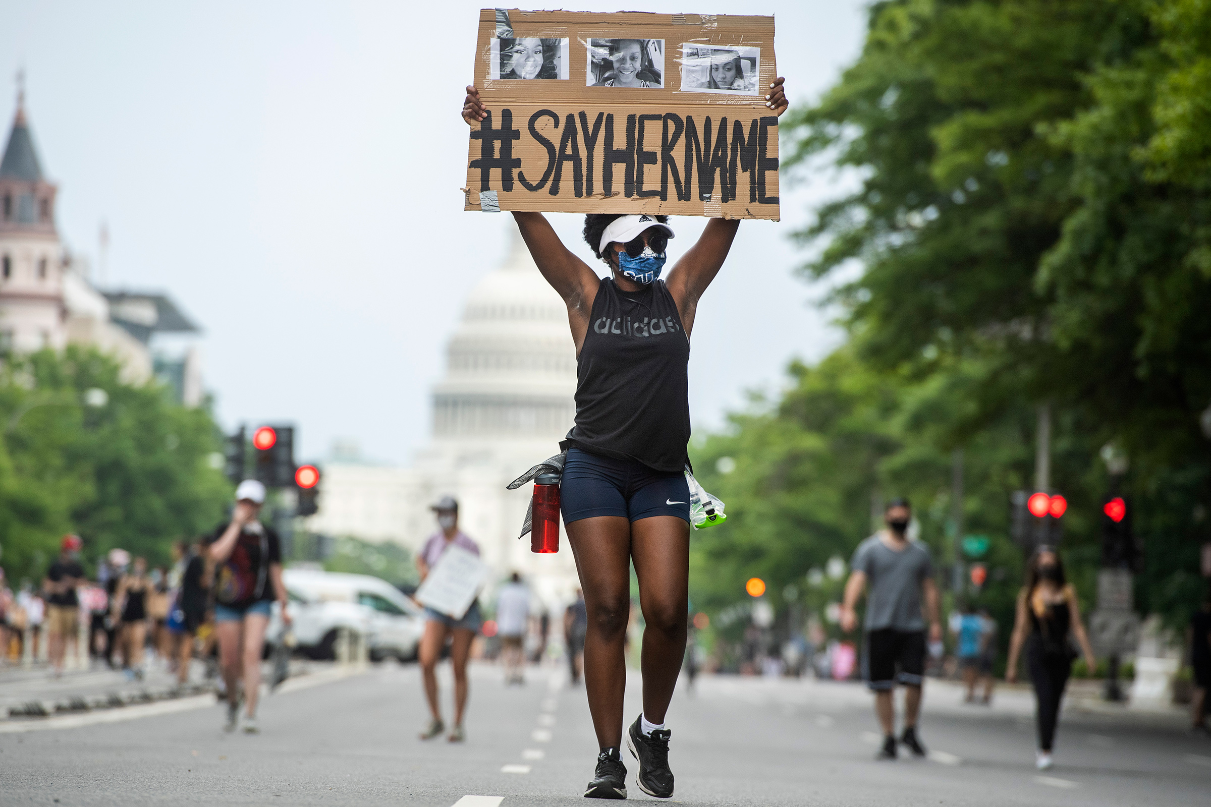 A demonstrator marches on Pennsylvania Avenue in Washington, D.C., on June 6, 2020.