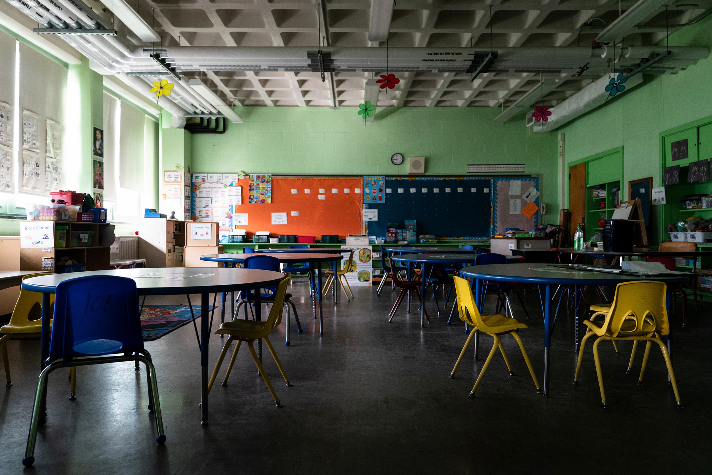 An empty classroom at Sinclair Lane Elementary School in Baltimore