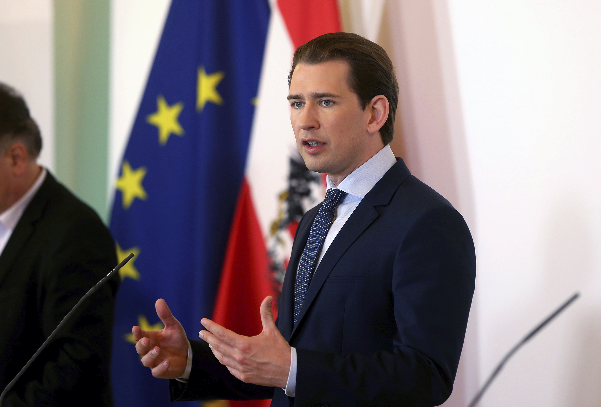 Austrian Chancellor Sebastian Kurz speaks during a press conference at the federal chancellery in Vienna, Austria, on June 16, 2020.