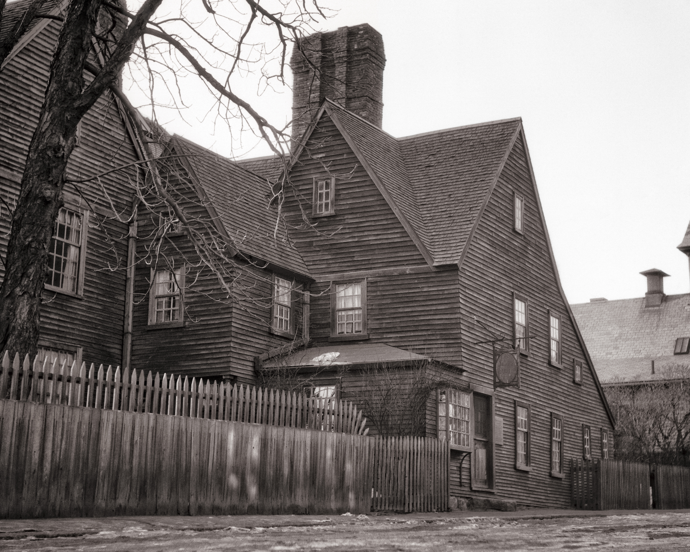 An image of The House of the Seven Gables, a 1668 home in Salem, Mass., in the 1940s