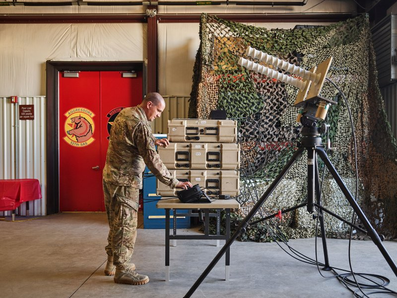 Helical antenna used to scramble adversaries GPS signals in combat.