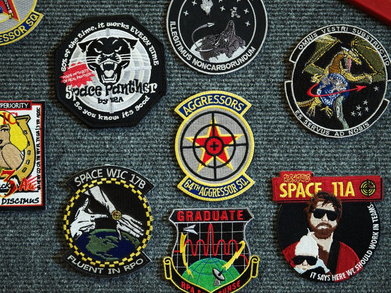Squadron emblem patches at 527th Space Aggressors Squadron at Schriever Air Force Base in Colorado Springs, Colorado.