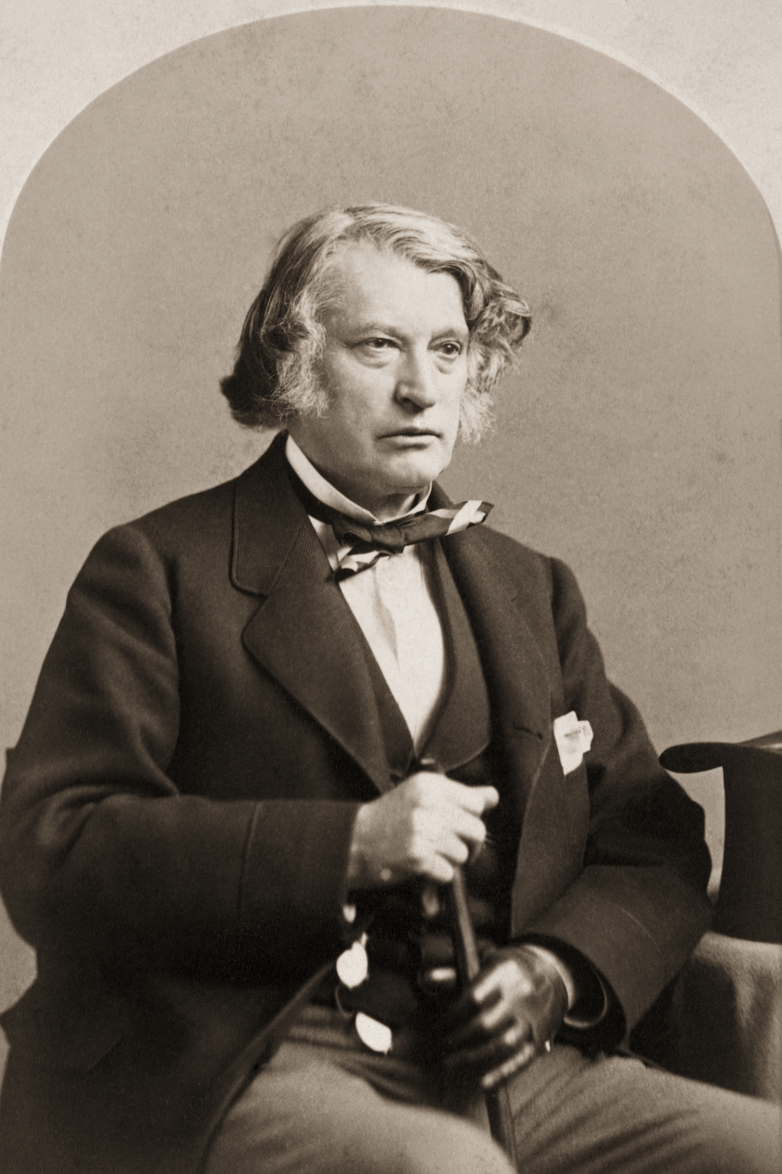 Charles Sumner seated with cane, circa early 1870's.