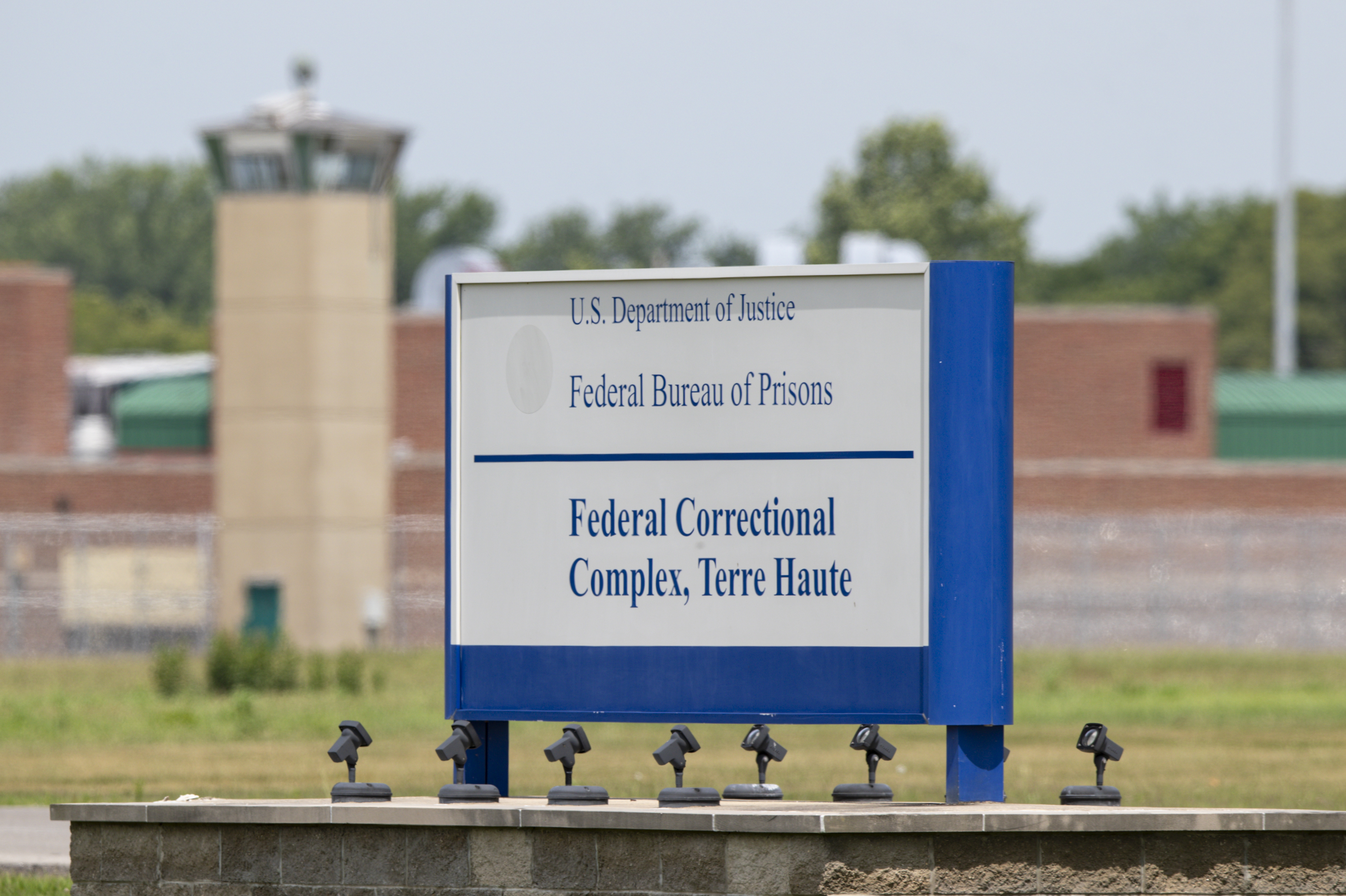 The entrance to the federal prison in Terre Haute, Ind., is seen on July 15, 2020.