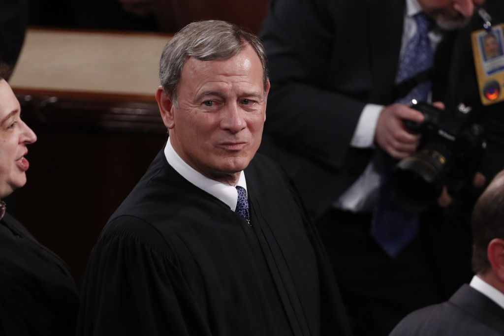 John Roberts, Chief Justice of the Supreme Court, arrives at the U.S. Capitol in Washington on Feb. 4, 2020.