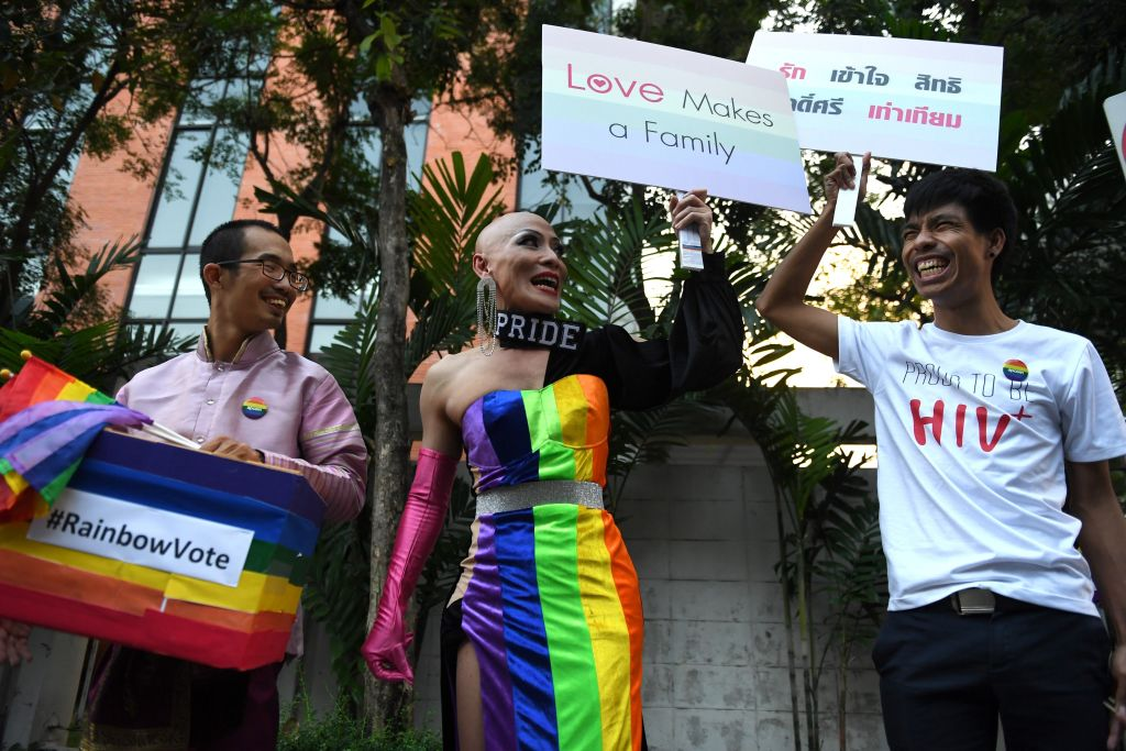 Participants rally to advocate gay rights in Bangkok, Thailand on Nov. 29, 2018.