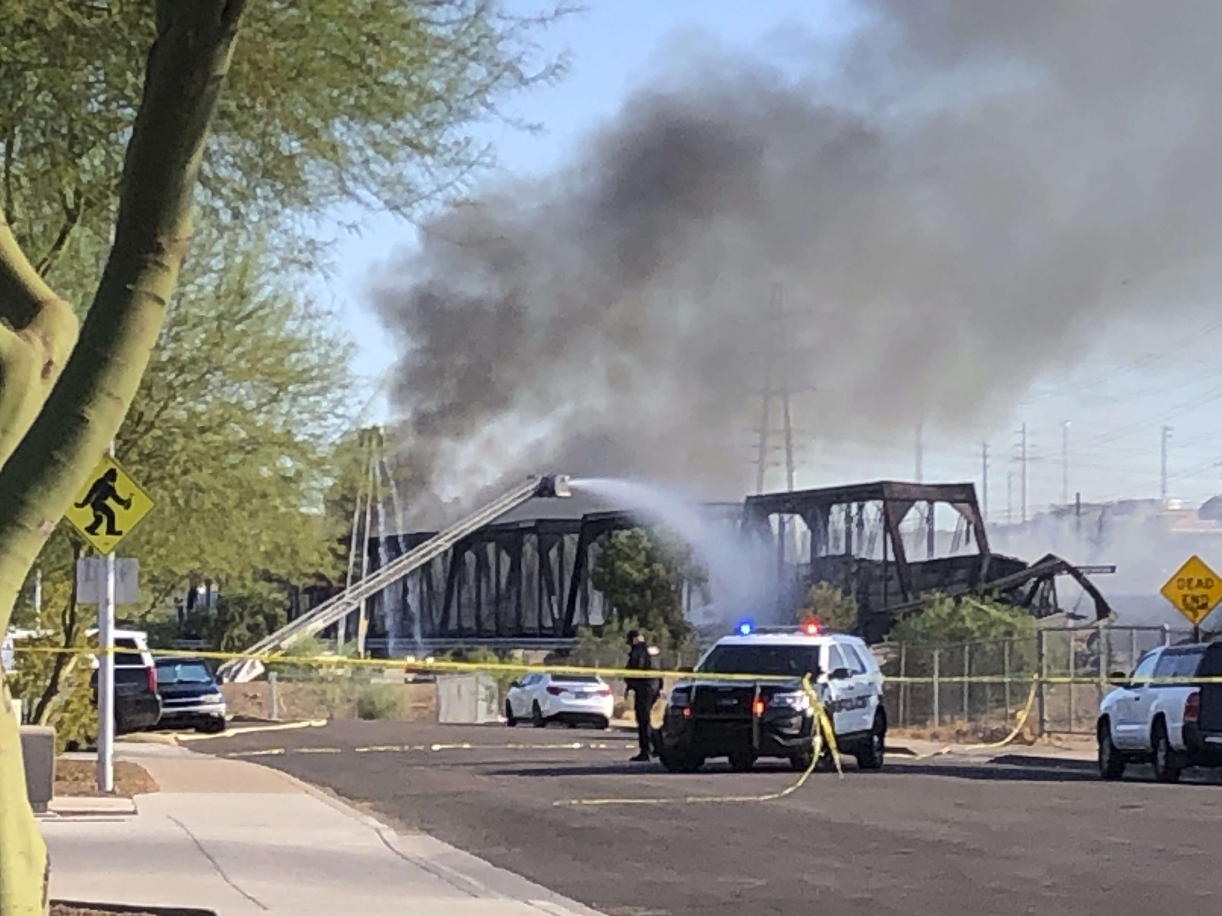 Firefighters respond to the scene of a train derailment in Tempe, Ariz. on July 29, 2020.