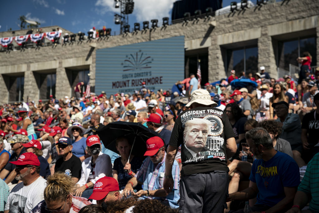 Visitors arrive ahead of an event at Mount Rushmore National Memorial in Keystone, South Dakota, U.S., on Friday, July 3, 2020. The early Independence Day celebration, which will feature a speech by President Donald Trump, a military flyover and the first fireworks in more than a decade, is expected to include about 7,500 ticketed guests who won't be required to wear masks or socially distance despite a spike in U.S. coronavirus cases. Photographer: Al Drago/Bloomberg via Getty Images