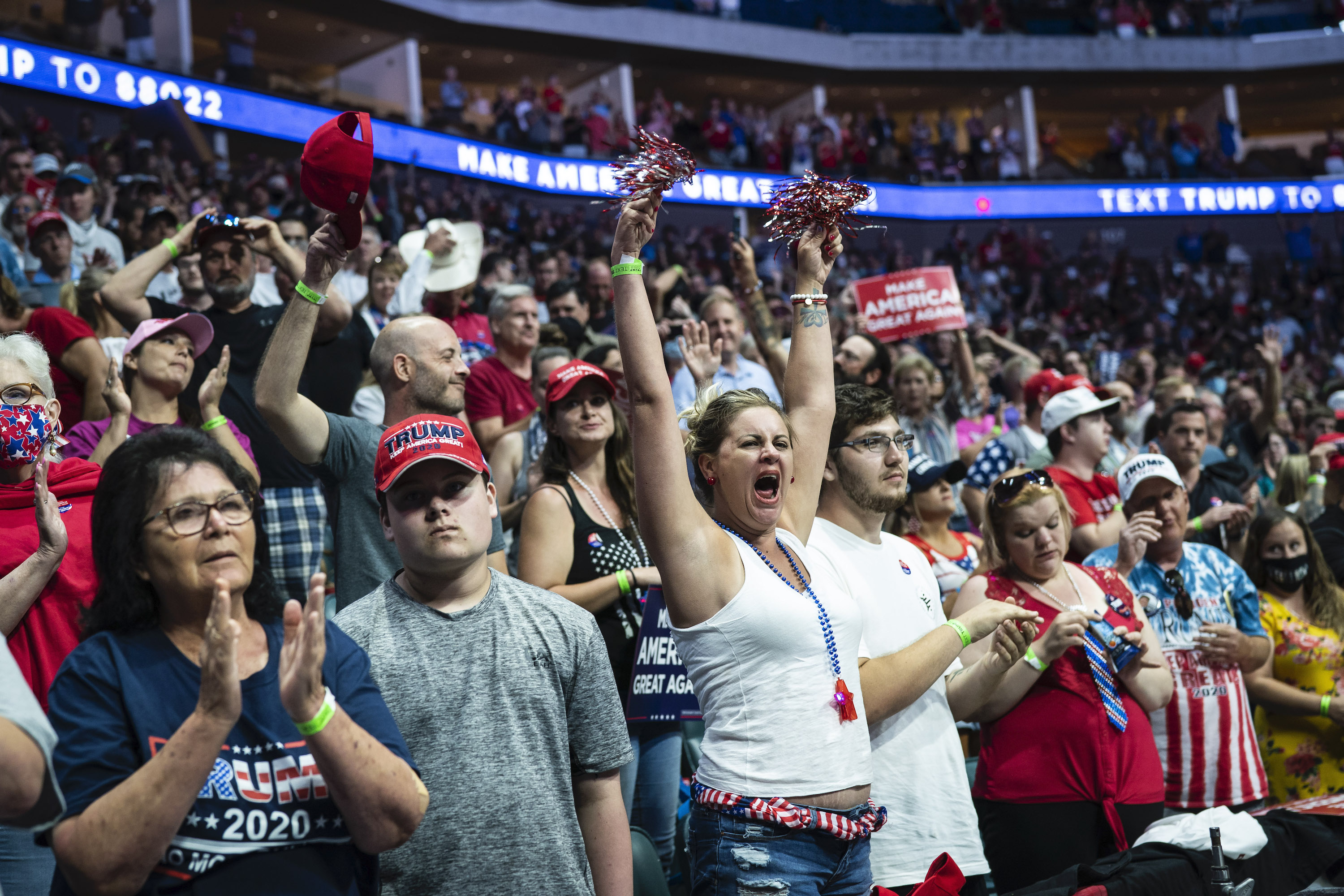 Supporters cheer before President Donald J. Trump arrives, many without masks, for a  Make America Great Again!  rally at the BOK Center on June 20, 2020 in Tulsa, OK.