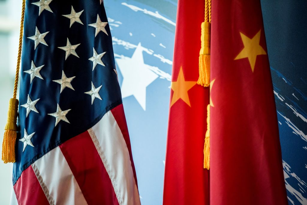 The Chinese and U.S. flags are seen in Beijing on June 30, 2017.