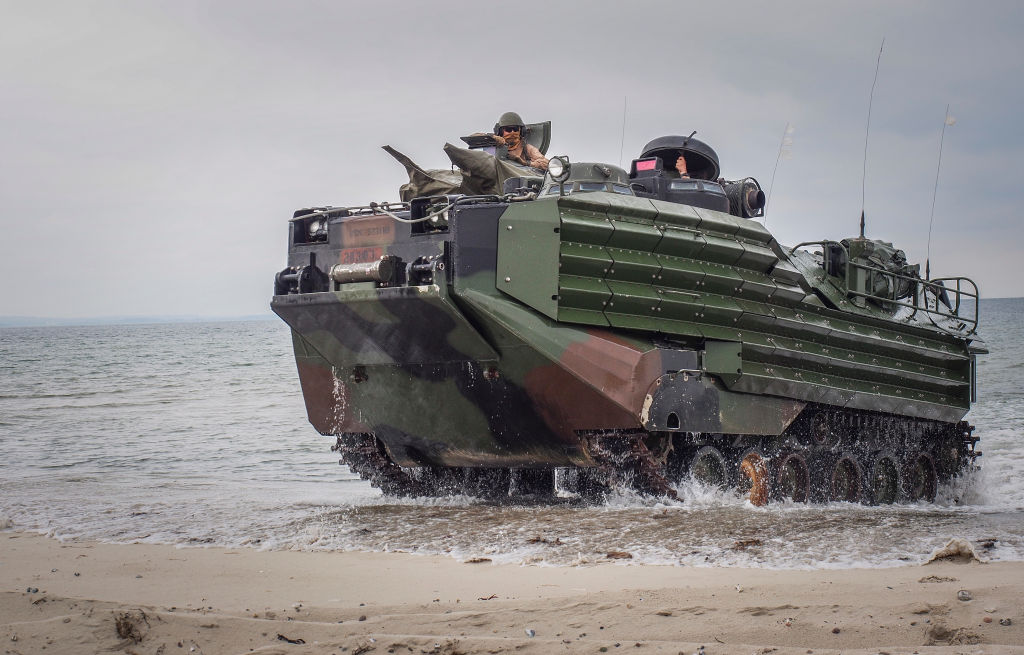 An Assault Amphibious Vehicles (AAV) drives to the beach during an Amphibious Landing Exercise on June 08, 2017 in Oldenburg, Germany.