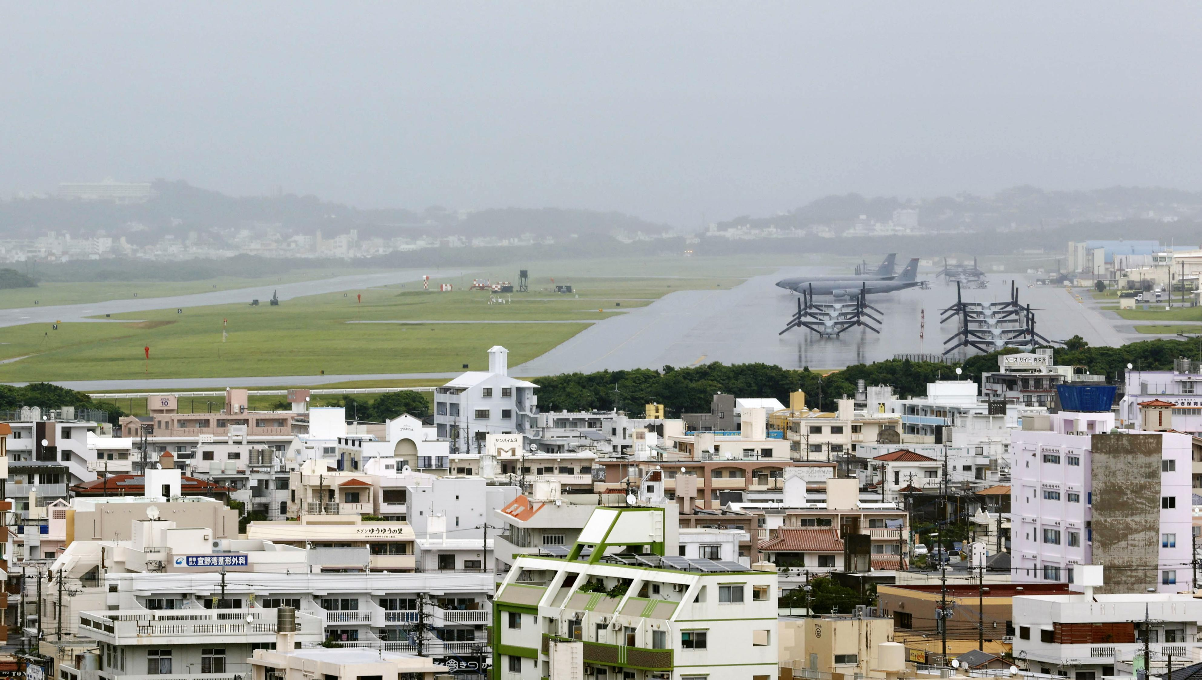 Photo shows U.S. Marine Corps Air Station Futenma in Ginowan in Japan's southern island prefecture of Okinawa on June 22, 2020, a day before the 60th anniversary of the enforcement of the revised Japan-U.S. security treaty.