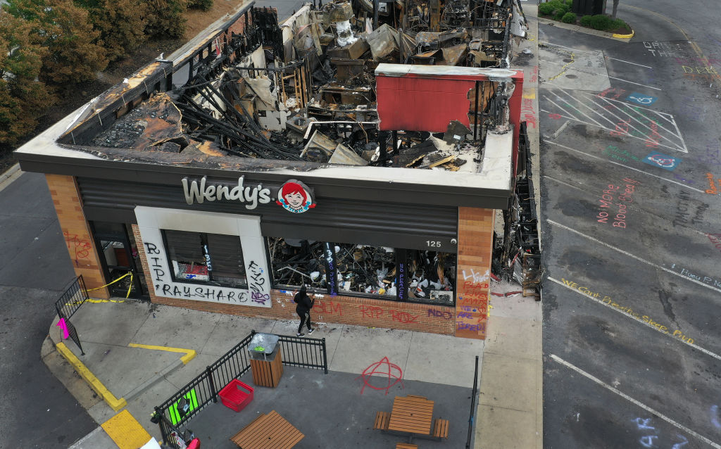 The Wendy's restaurant that was set on fire by demonstrators after Rayshard Brooks was killed is seen on June 17, 2020 in Atlanta, Georgia.