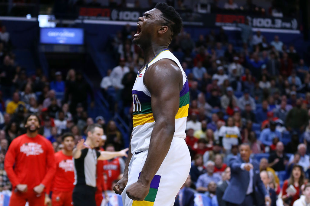 Zion Williamson #1 of the New Orleans Pelicans celebrates during the second half against the Milwaukee Bucks at the Smoothie King Center on February 4, 2020 in New Orleans, Louisiana.