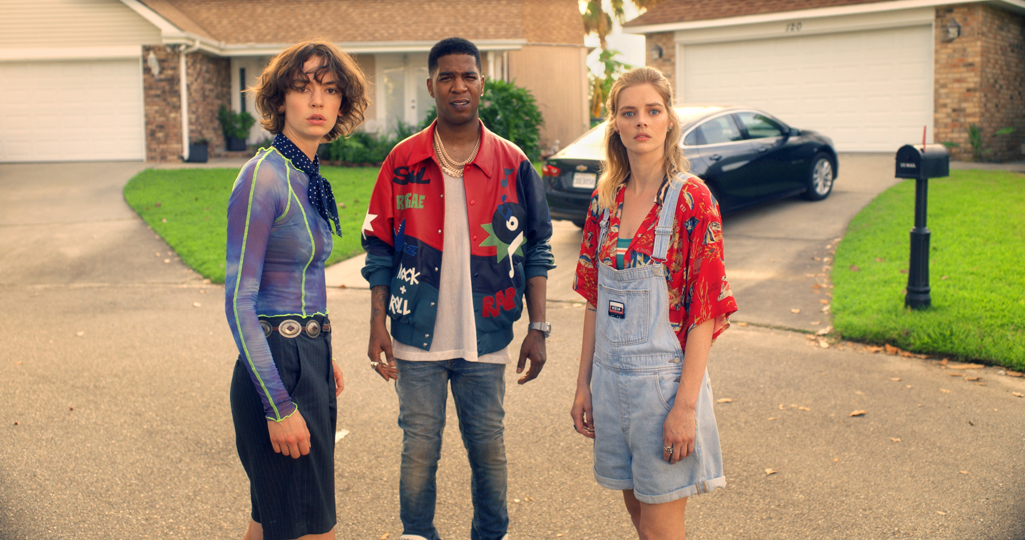 Brigette Lundy-Paine and Samara Weaving, flanking Kid Cudi, play Bill and Ted's teenage daughters.