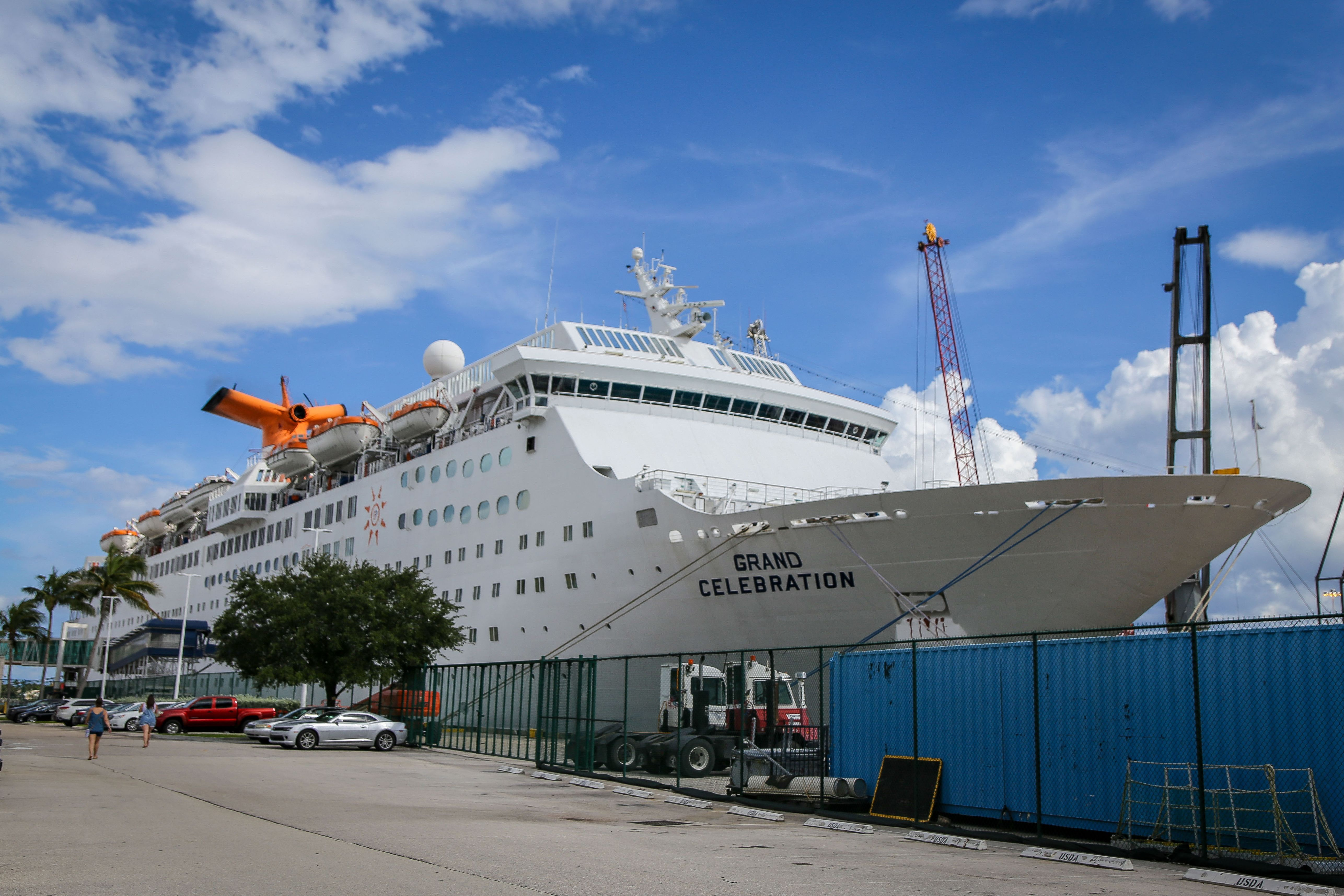 The Bahamas Paradise Cruise Line's Grand Celebration is pictured on Sept. 16, 2019 in West Palm Beach, Florida, carrying volunteers and aid to the Bahamas.