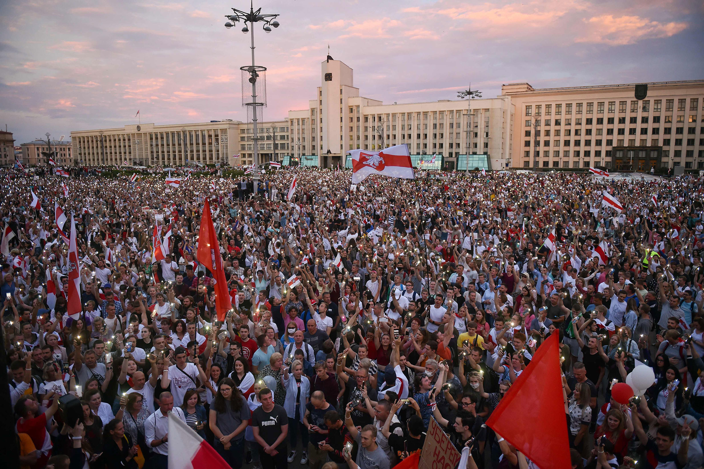 Opposition supporters protest against disputed presidential elections results at Independence Square in Minsk on Aug. 18, 2020.