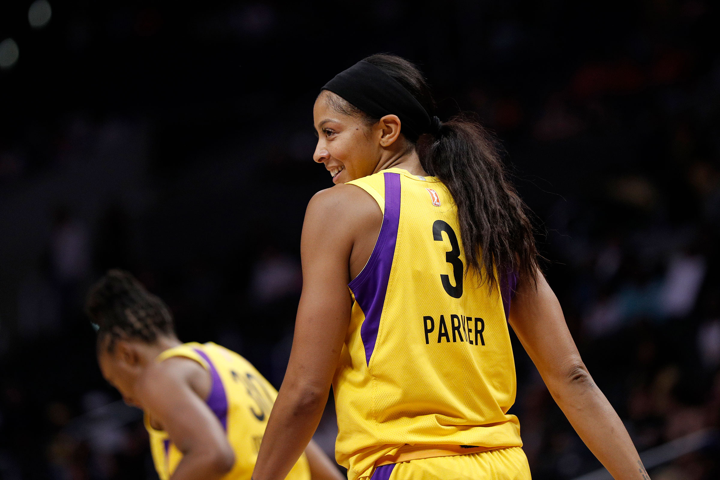 Candace Parker of the Los Angeles Sparks during a game against the Phoenix Mercury on Aug. 08, 2019 in Los Angeles.