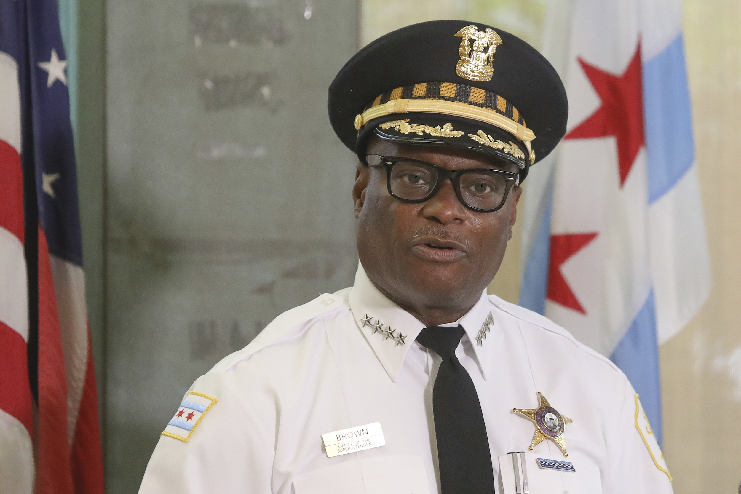 Chicago Police Superintendent David Brown speaks at a news conference in Chicago, on July 27, 2020.