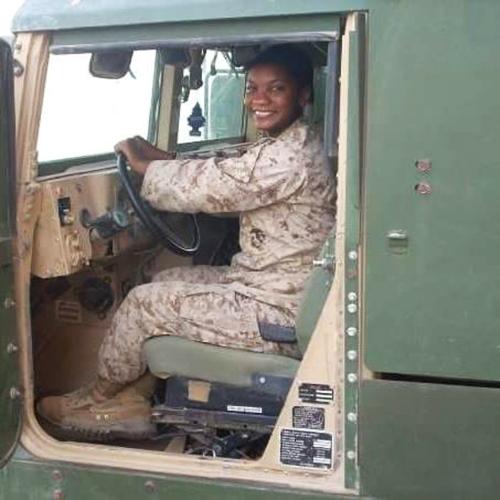 Coricia Campbell in uniform.