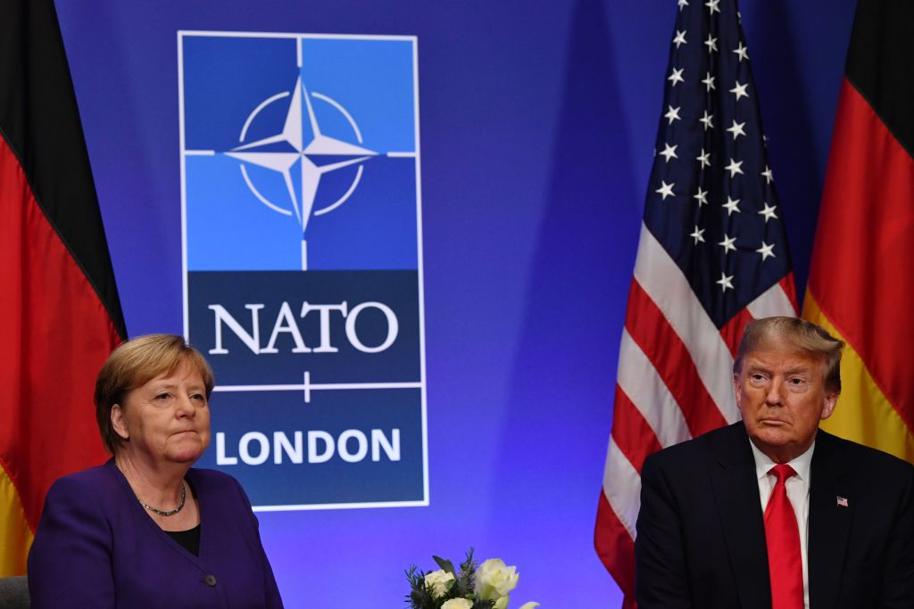 German Chancellor Angela Merkel and U.S. President Donald Trump hold a bilateral meeting on the sidelines of the NATO summit in Watford, UK, on December 4, 2019.