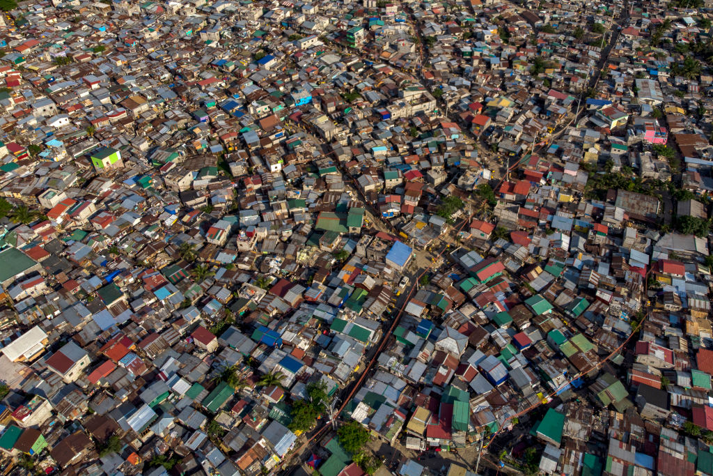 An aerial view of the BASECO Compound, Manila's largest slum area, on April 3, 2020 in Manila, Philippines.