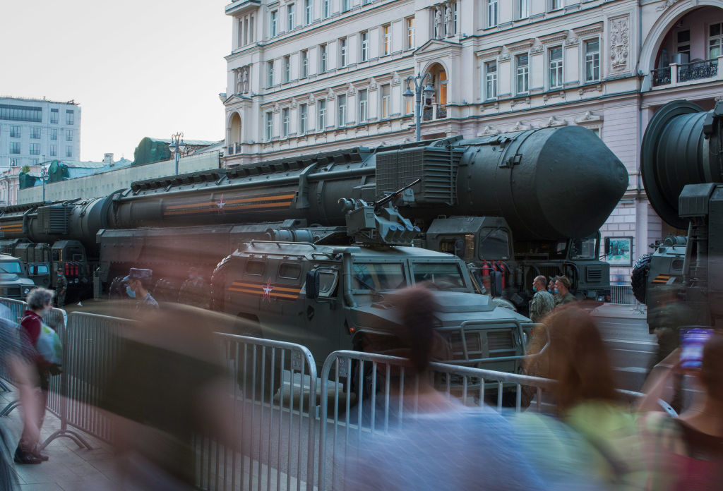 A vehicle transports a RS-24 Yars strategic nuclear missile along a street during a Victory Day rehearsal in Moscow, Russia, on June 17, 2020.