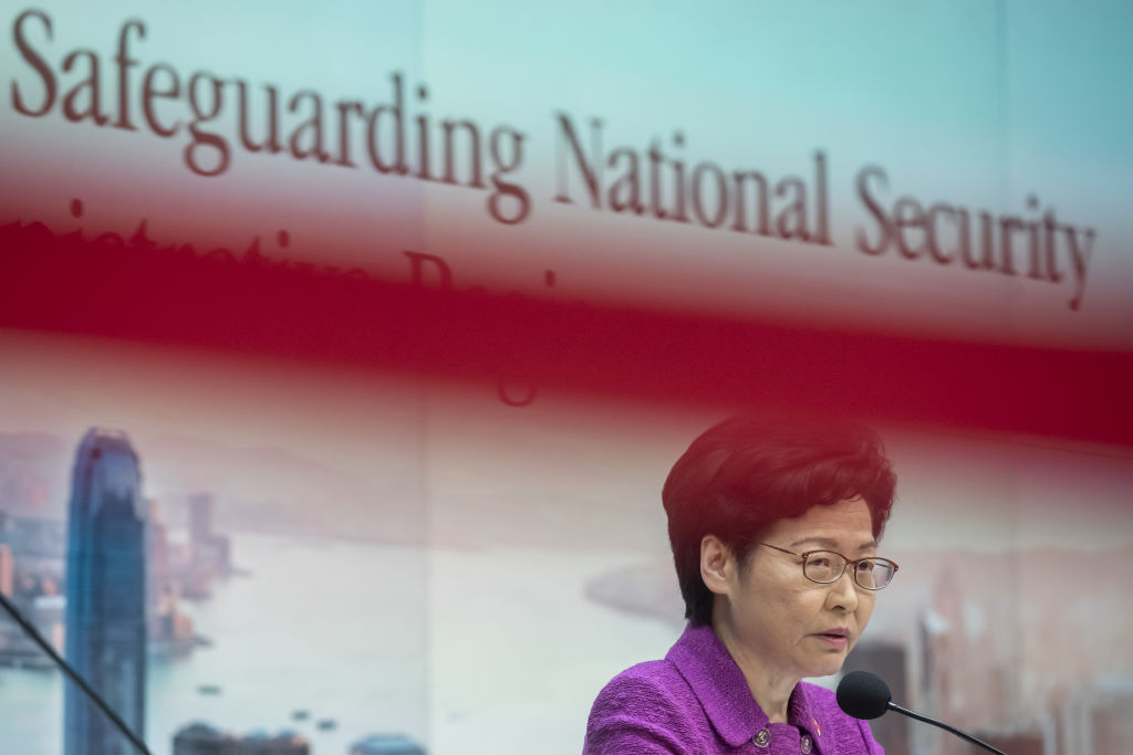 Carrie Lam, Hong Kong's chief executive, speaks at a news conference in Hong Kong, China, on Wednesday, July 1, 2020.